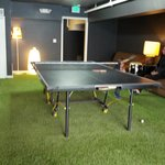 game room with artificial grass