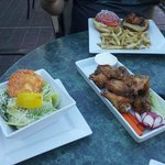 salt & pepper wings, ceazar salad & burger