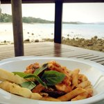 Seafood Penne by the sea, delicious!