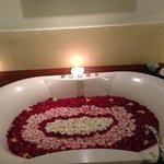 The suprise rose petal bath for my hubby's birthday