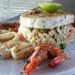 SEAFOOD GRILL  110- Fresh mahi mahi, prawns and calamari, grilled on the BBQ, drizzled with lemo