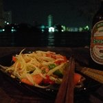 Beer Lao on the river by night