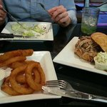 BBQ Pulled Pork Sandwich with Hog Wedge Salad, Onion Rings & Homemade Limeade