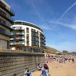 View from beach of apartment block Lockton House