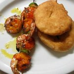 Shrimp skewer and johnny cakes at Talk of the Town, Grand Case
