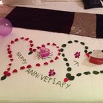 mentioned it was our anniversary that night it was lovely to come back to our room and see this
