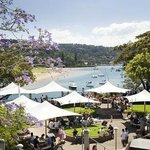 View of Pittwater with Newport Arms beergarden in foreground