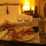 Midnight snack awaiting upon arrival toasts and a St Emilion Grand Cru wine!