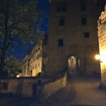 Castle entrance by night
