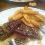 Medium rare Rib-eye with twice cooked chips and garlic peppercorn sauce... Just beautiful!