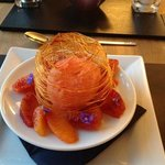 Blood orange sorbet in a cage of spun sugar!!