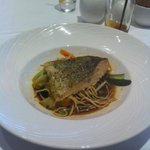 Thai Salmon with Noodles and Chinese Stir Fry Vegetables
