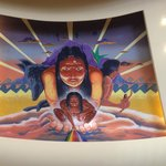 Native American mural in the resort lobby