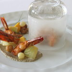 smoked shrimp with eggplant caviar & vegetable escabeche