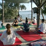 Yoga with view on Lake Bafa