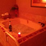  2 Person Jetted Tub w/ Roses + Rose Petal package offer by hotel