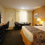 Our cozy king guest room features a flat screen TV