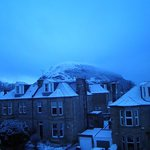  The view from our room of Arthur&#39;s Seat.  It snowed overnight!