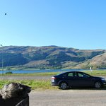 Our car and the loch from our bedroom window.