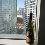  View of downtown from our room (including some local wine)