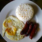  Longsilog (Longanisa sausage, egg and rice) breakfast at the hotel