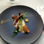 Asparagues, Langoustine, Morel, Spiced Brown Butter, Shellfish Veloute
