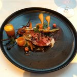  Wicklow Lamb, Carrots, Liquorice, Date, Olive, Sheeps Cheese Custard