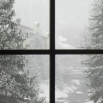 View from one of the windows on a snowy morning