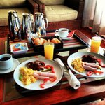 Room service: American breakfast for two.