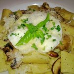  mushroom pasta w/egg focus on pasta - very Italian