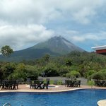 view of volcano from pool and restaurant