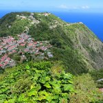 Windwardside from Maskehorne Hill. Juliana's Hotel at center right, on edge of the
