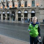  My son, Tobias, in front of the hotel