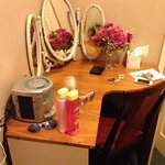 dressing table, tissues, CD player