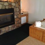 Room 134, fire place and two person spa tub