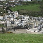 view of the Port Isaac from the top of the hill