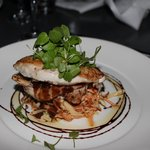 Roasted Chicken Breast with spiced coleslaw, roast garlis, ginger and mint dressing