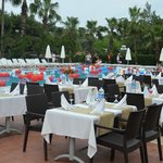  Dining near the pool outside