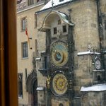  View of the Clock from our breakfast table - Grand Hotel Praha