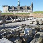  Kronborg Castle with stonework for repairs in foreground