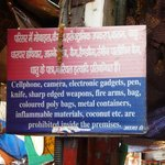 Notice on gate of Vishwanath temple