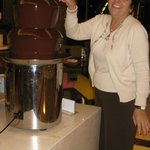  Chocolate fondue fountain is featured on the nightly buffet