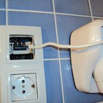 Wires shouldn't be exposed in bathrooms - not fixed all week sadly