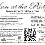  Inn At The Ridge - Business Card