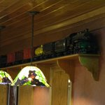  Trains are on the wall of the buffet area