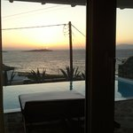  View from the room of the sunset over our private infinity pool