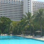 View of the hotel from other end of the pool