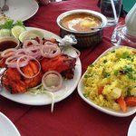 Tandoori Chicken Yummy. Nice bean Dhal and Rice and Nailed the Entree