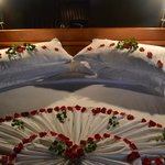 Rose petals on our bed (last night in the resort)