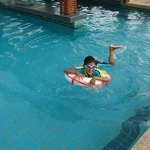 Our kid enjoy large swimming pool.